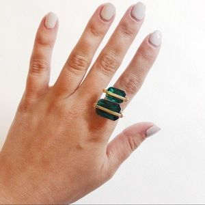 Gold Statement Ring Green Stones 8